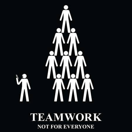 idler: Teamwork is not for everyone in the workplace isolated on black background