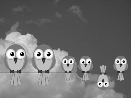 youngsters: Monochrome large comical bird family against a cloudy sky