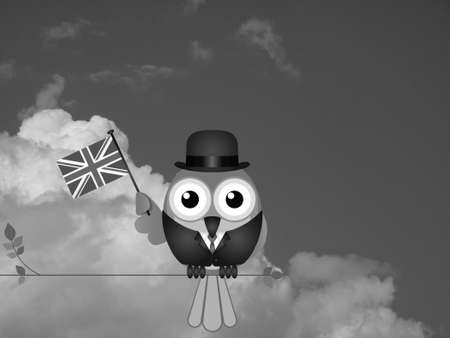 compatriot: Monochrome businessman flying the flag for British Business against a cloudy sky