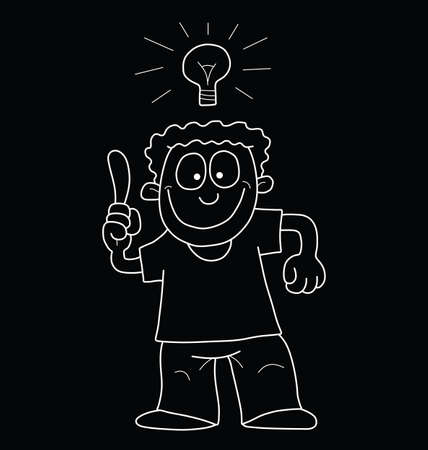 Monochrome outline cartoon man having an idea isolated on black background