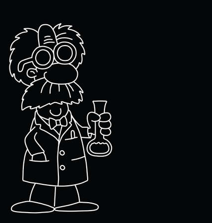 Monochrome outline cartoon scientist with copy space for own text isolated on black background