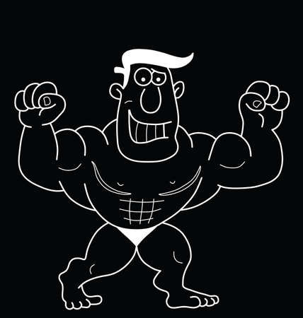 beefy: Monochrome outline cartoon strongman isolated on black background