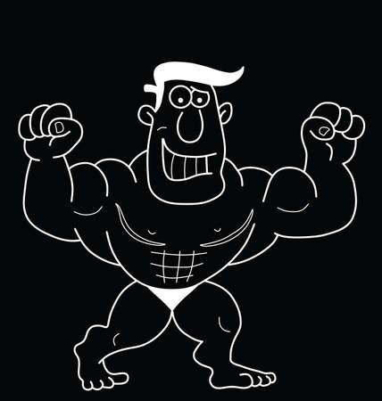 strongman: Monochrome outline cartoon strongman isolated on black background