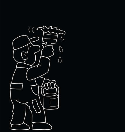 brush paint: Monochrome outline cartoon painter isolated on black background with copy  space for own text or graphics