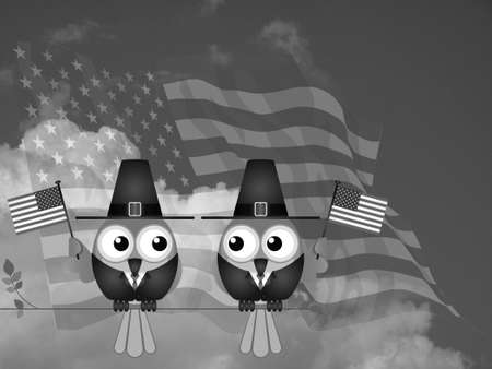 Monochrome Thanksgiving flag waving birds sat on a tree branch against a cloudy sky
