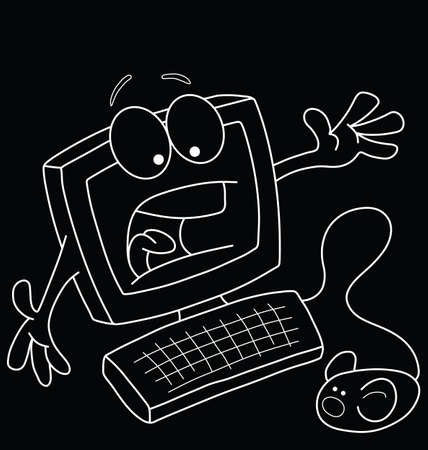 terrified: Monochrome comical outline cartoon computer terrified of the mouse  isolated on black background