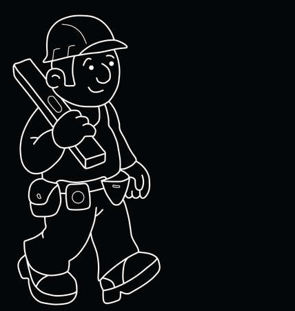 ingeniero caricatura: Monochrome outline cartoon builder with copy space for own text isolated on black background Vectores
