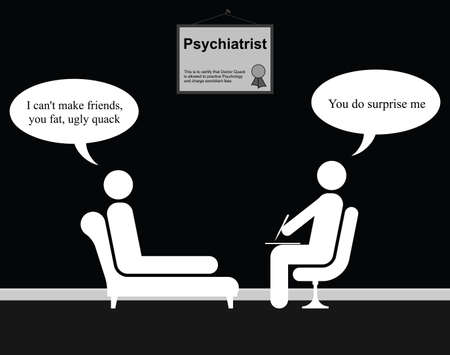 pal: Monochrome on the Psychiatrist couch with Doctor Quack and friends