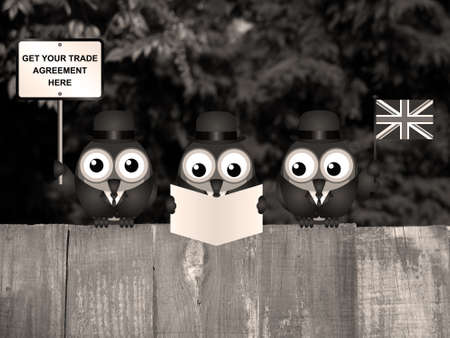 Sepia comical United Kingdom government diplomatic trade delegation team advertising for new worldwide trade deals after exiting the European Union following the June 2016 referendum