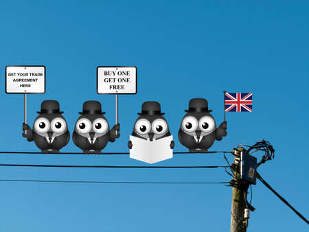 negotiator: Comical United Kingdom Trade Agreement negotiation delegation following the June 2016 referendum to exit the European Union perched on electrical cables