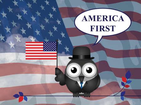 pledge: America First presidential inauguration pledge against a the national flag