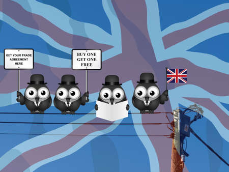 Comical United Kingdom Trade Agreement negotiation delegation following the June 2016 referendum to exit the European Union perched on electrical cables against national flag