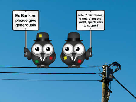 begging: Comical threadbare poor bankers begging for people to give generously wearing tattered clothing perched on electrical cables Stock Photo