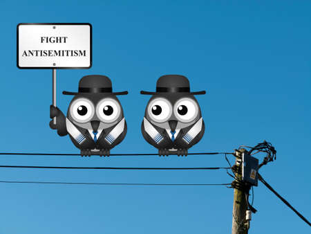 bigoted: Fight antisemitism message with Jewish characters wearing Tallit prayer shawls  perched on electrical cables Stock Photo