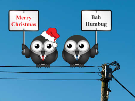 bah: Comical the two sides of Christmas with those that are merry and those that are not Stock Photo