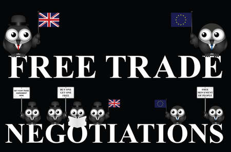 United Kingdom government free trade negotiations after exiting the European Union following the June 2016 referendum isolated on black background Illustration