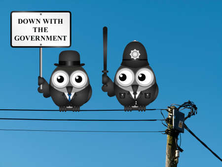 Comical city gent protesting against the government with a baton wielding police officer at the ready  perched on electrical cables