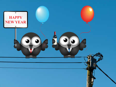 inebriated: Comical Happy New Year message with one drunken reveller perched on electrical cables Stock Photo
