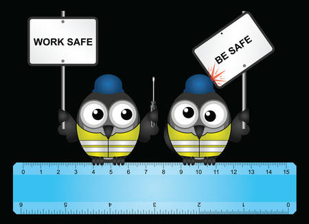 labourers: Comical construction workers with health and safety work safe be safe message perched on  a ruler isolated on black background Illustration
