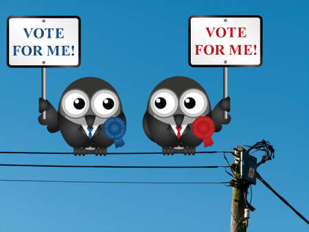 electioneering: Comical left and right wing politicians vying for your vote perched on electrical cables