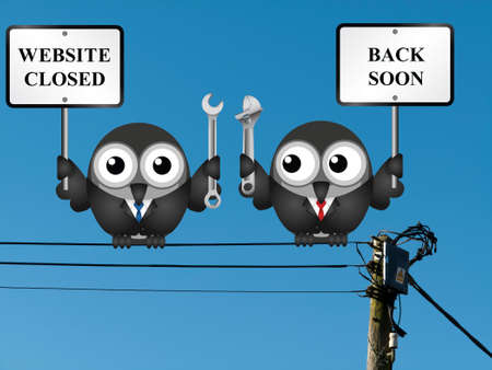 mending: Comical website maintenance closed back soon message perched on electrical cables
