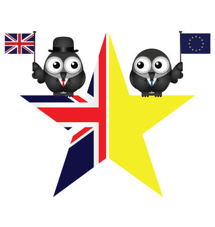 liberation: Comical UK and EU split star representing the United Kingdom exit from the European Union resulting from the June 2016 referendum