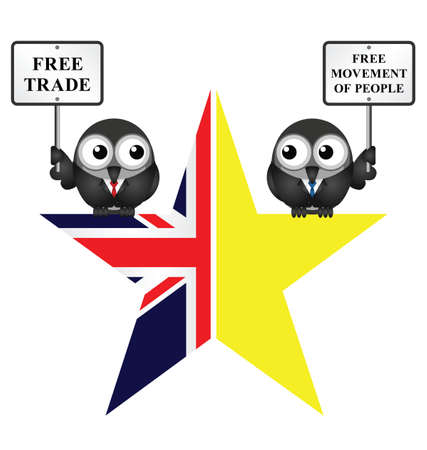 liberation: Comical UK exit from the European Union symbol Illustration