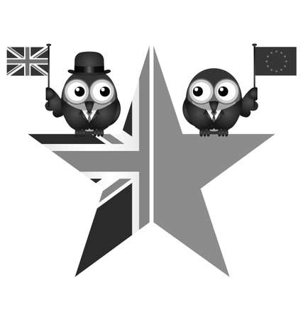 liberated: Monochrome comical UK and EU split star representing the United Kingdom exit from the European Union resulting from the June 2016 referendum Stock Photo