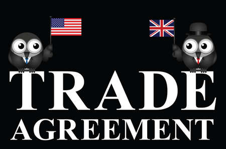 Representation of USA UK transatlantic trade agreement negotiations isolated on black background Ilustração