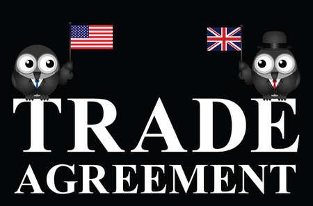 Representation of USA UK transatlantic trade agreement negotiations isolated on black background Illustration
