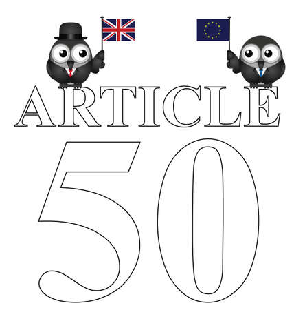 Comical Article 50 document to be issued by the United Kingdom Government to exit the European Union resulting from the June 2016 referendum Illustration