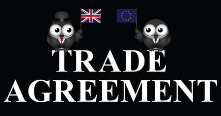 Comical United Kingdom European Union Trade Agreement negotiations following the June 2016 referendum isolated on black background Illustration