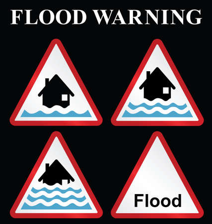 torrent: Flood alert flood warning and severe flood warning weather sign collection isolated on black background