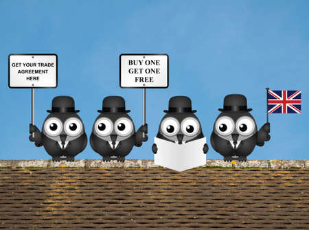 Comical United Kingdom Trade Agreement negotiation delegation following the June 2016 referendum to exit the European Union perched on a rooftop Banco de Imagens