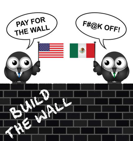 pay wall: Representation of the USA border wall with Mexico and who is going to pay for it Illustration