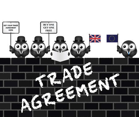 negotiator: Comical United Kingdom Trade Agreement negotiation delegation following the June 2016 referendum to exit the European Union perched on a brick wall