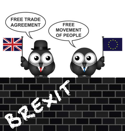 Comical United Kingdom Brexit Trade Agreement negotiations following the June 2016 referendum to exit the European Union perched on a brick wall Stock Illustratie