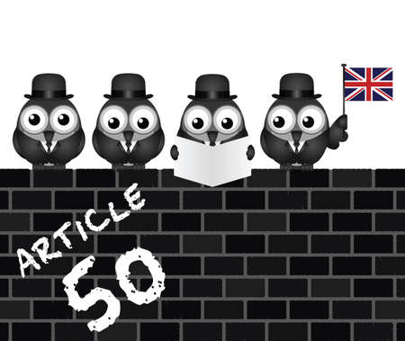 liberated: Comical Article 50 document to be issued by the United Kingdom Government to exit the European Union resulting from the June 2016 referendum Illustration