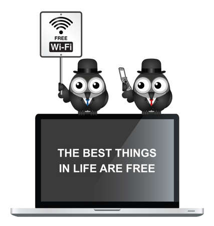 laptop mobile: Comical free WIFI sign with businessman accessing the internet via his mobile telephone  perched on a laptop