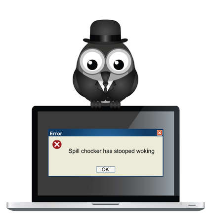 error message: Comical spell checker error with misspelt message on laptop isolated on white background