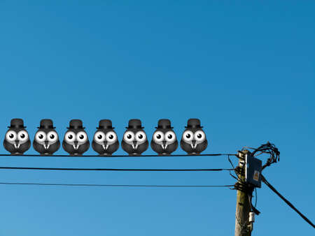 Comical flock of businessmen birds perched on a cable