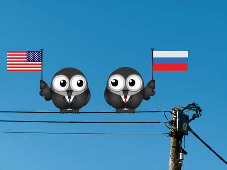 governmental: Comical American and Russian political leaders with national flags