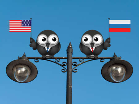 presidential: Comical American and Russian political leaders with national flags