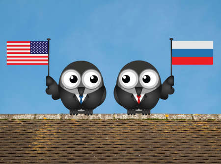 statesman: Comical American and Russian political leaders with national flags