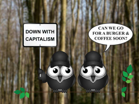 anarchism: Comical capitalism demonstration with bird demonstrators perched on a tree branch against a blurred woodland background Stock Photo