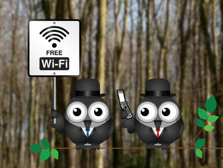 Free WIFI sign with businessman accessing the internet via his mobile telephone perched on a tree branch against a blurred woodland background Stock Photo