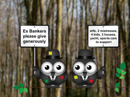 Threadbare poor bankers begging for people to give generously wearing tattered clothing perched on a tree branch against a blurred woodland background