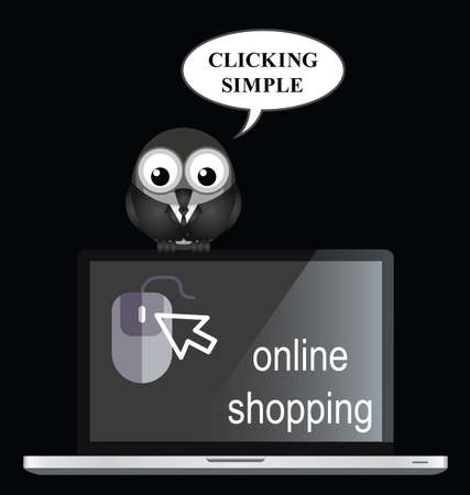 Comical online internet shopping with bird businessman shopper in black. Illustration