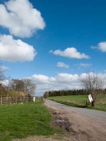 grass verge: Single lane road through English countryside and farmland Stock Photo