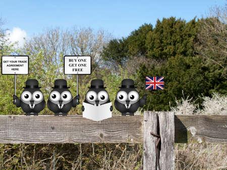 Comic Verenigd Koninkrijk regering diplomatieke handel delegatie team zat op een plattelandshek reclame voor nieuwe wereldwijde handel deals post Brexit